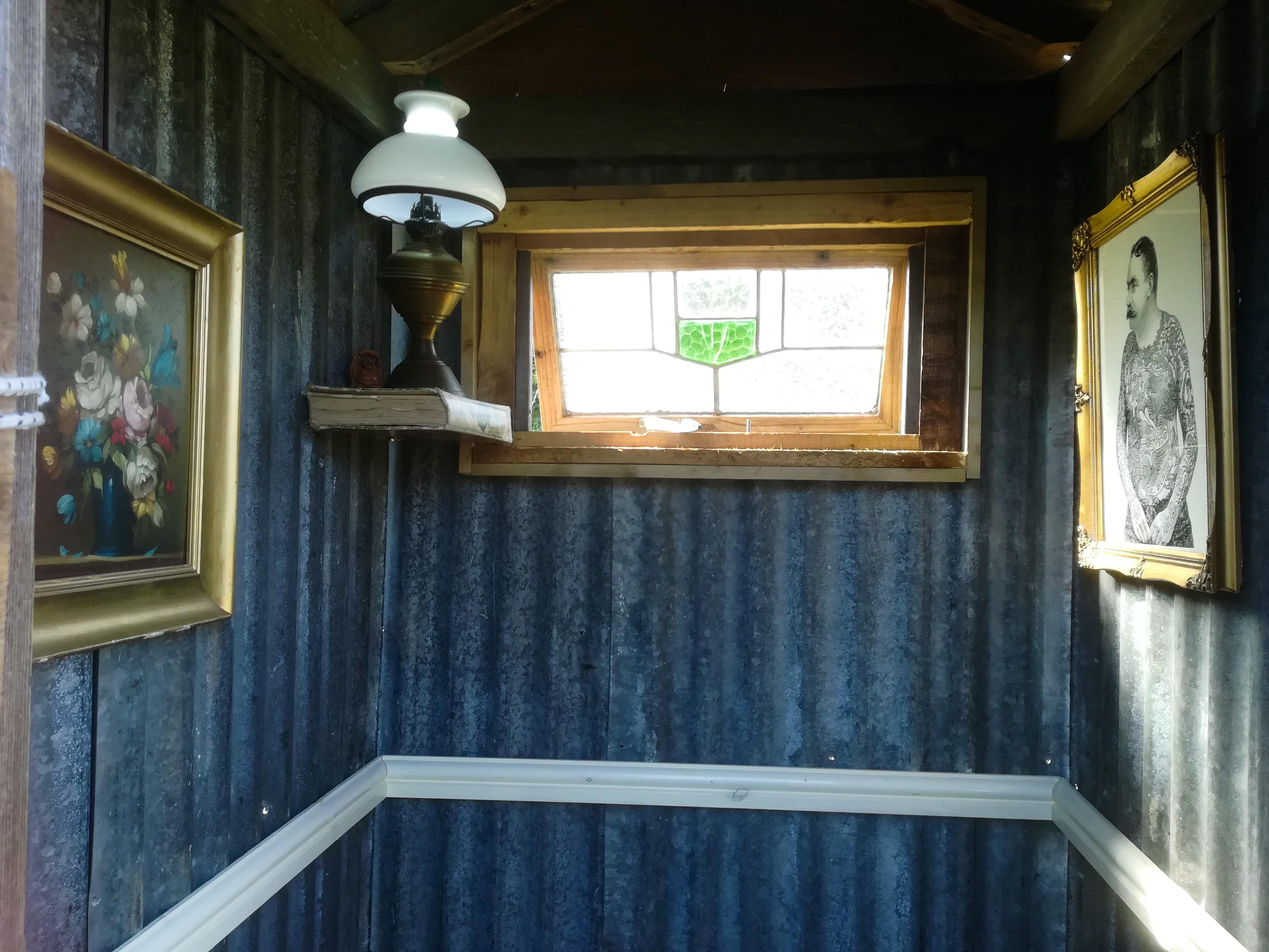 The bathroom window in Northern Skies composting toilet