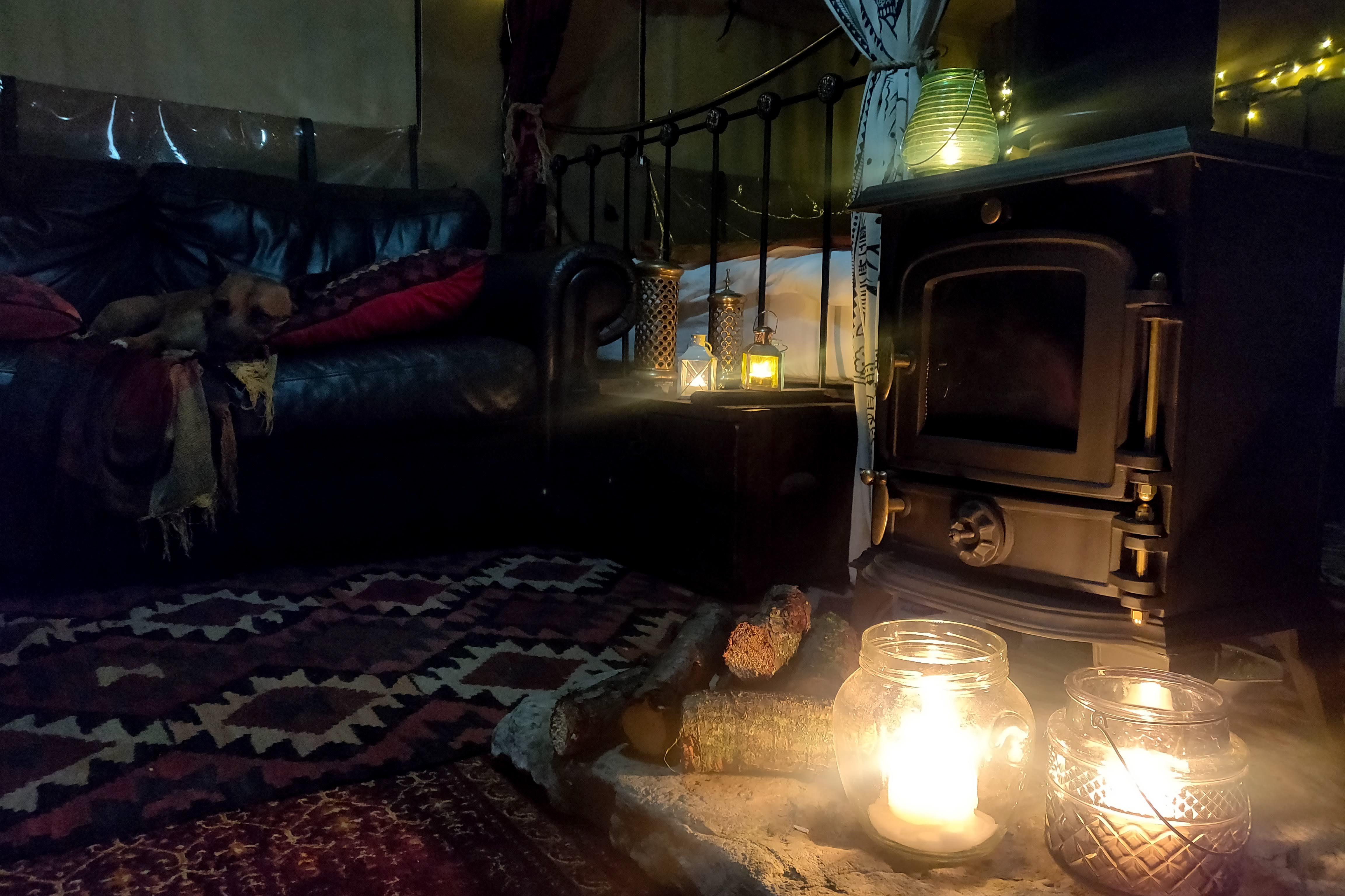 The log burner at night