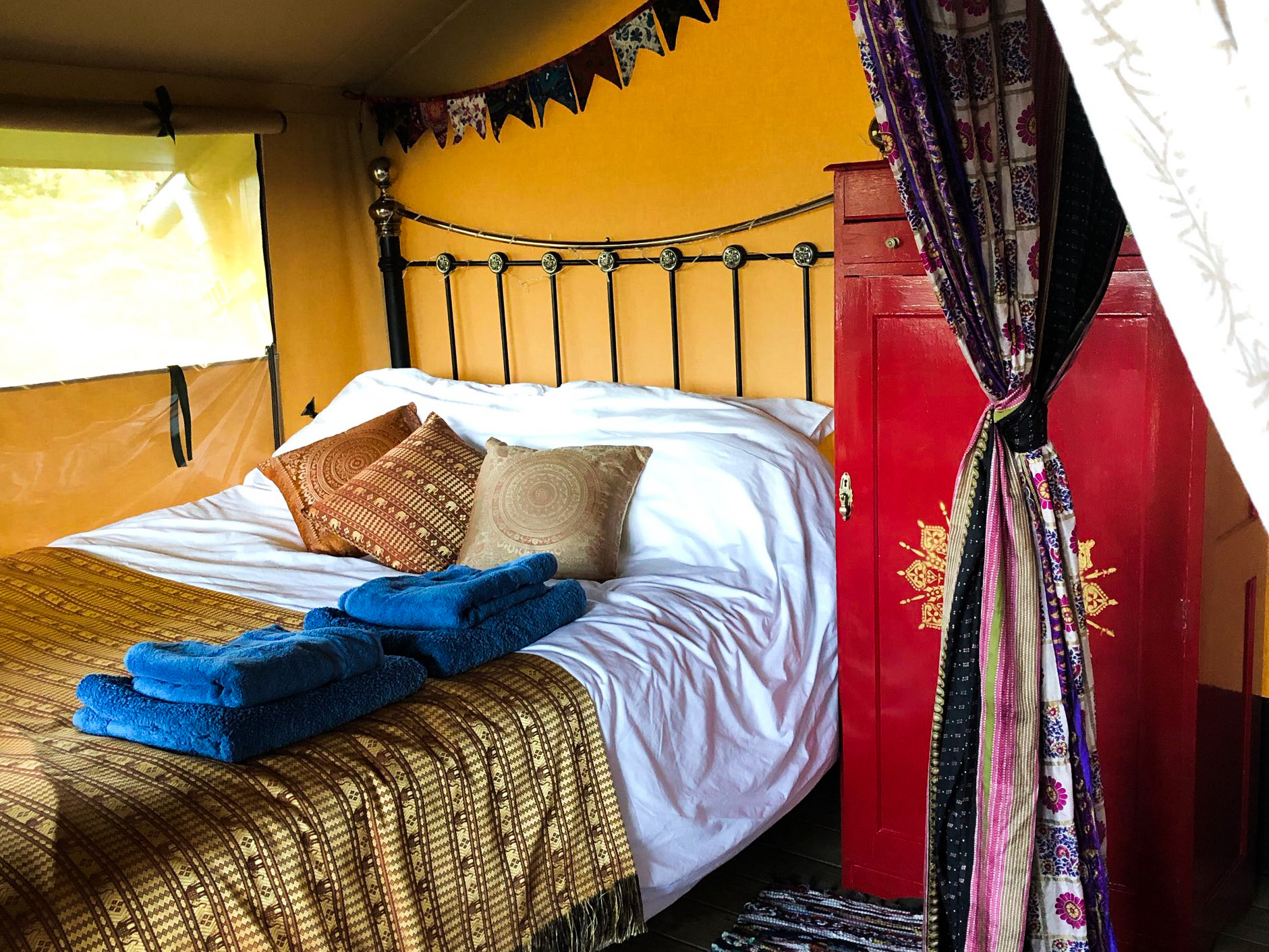 King sized bed - glamping luxury